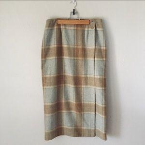Vintage Wool Blend Midi Skirt